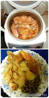 Морской окунь с картошкой в мультиварке Philips