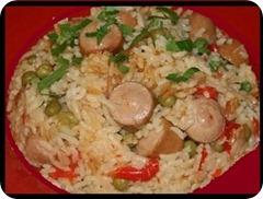 Рис с овощами и сосисками в мультиварке