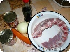 свиные рёбра с фасолью в мультиварке